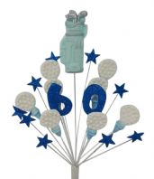 Golfer 60th birthday cake topper decoration in blue and white - free postage